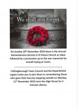 Annual Remembrance Parade Sunday 10th November