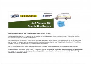 A45 Chowns Mill Shuttle Bus - Face Coverings required from 15 June